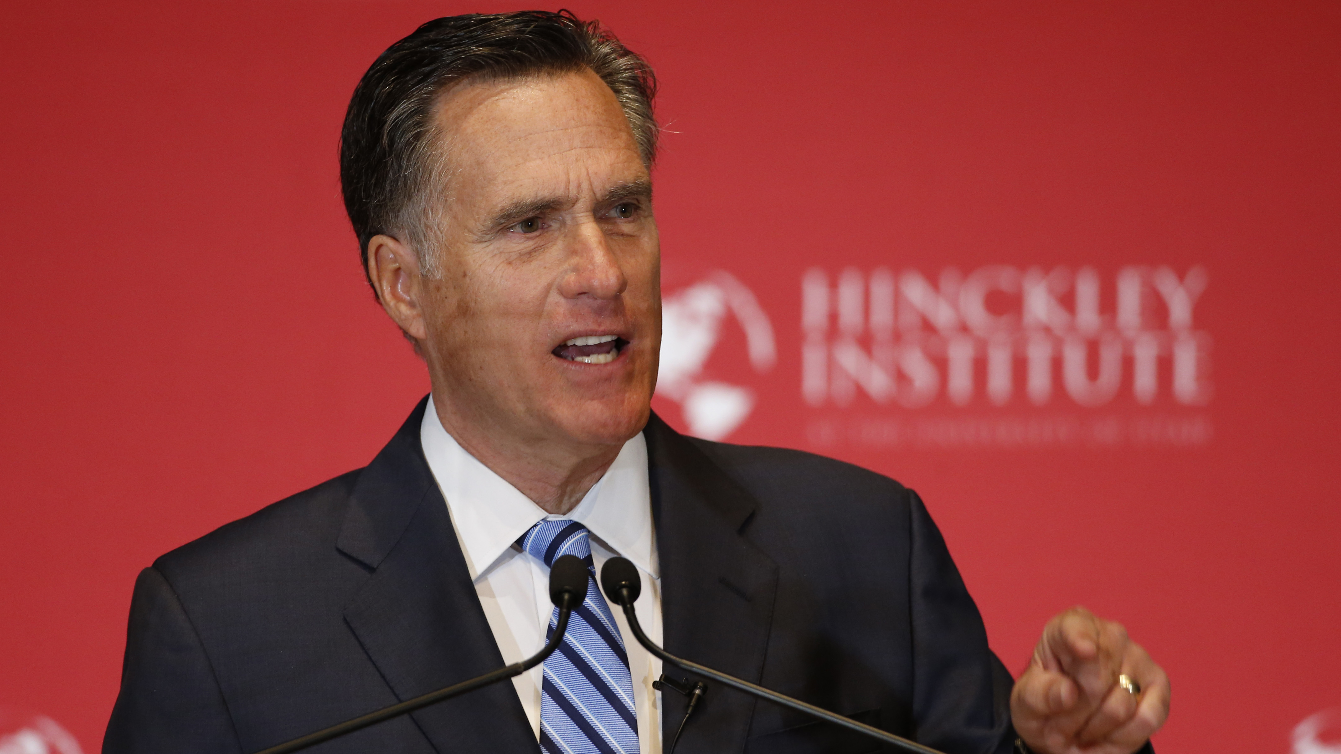 Former Massachusetts Gov. Mitt Romney argues against Donald Trump's nomination as the GOP presidential candidate on March 3 in Salt Lake City, Utah. George Frey/Getty Images