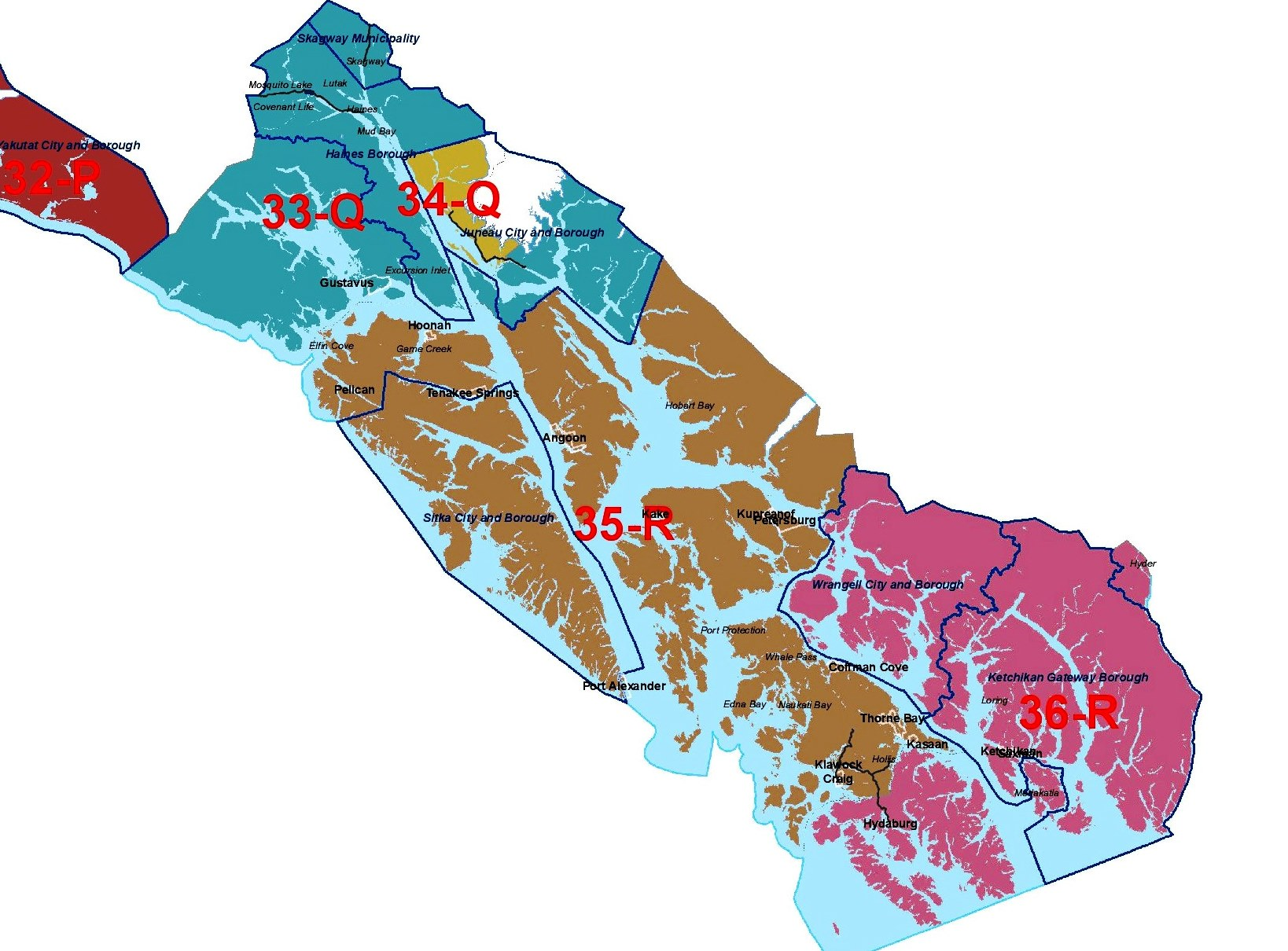 Southeast Alaska House and Senate districts are shwon on this map. (Courtesy Alaska Redistricting Board)