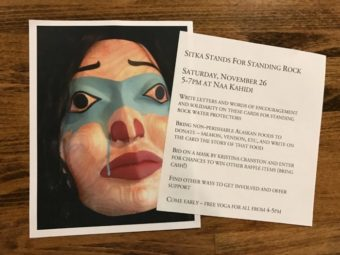 Sitka Stands for Standing Rock event will feature an hour of yoga, an art auction, and letter writing. (Photo by Emily Russell/KCAW)