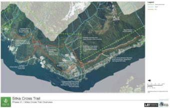 The two proposed routes of the final leg of the Cross Trail connect Kramer Avenue to Starrigavan Boat Launch. (Photo courtesy of Sitka Trail Works)