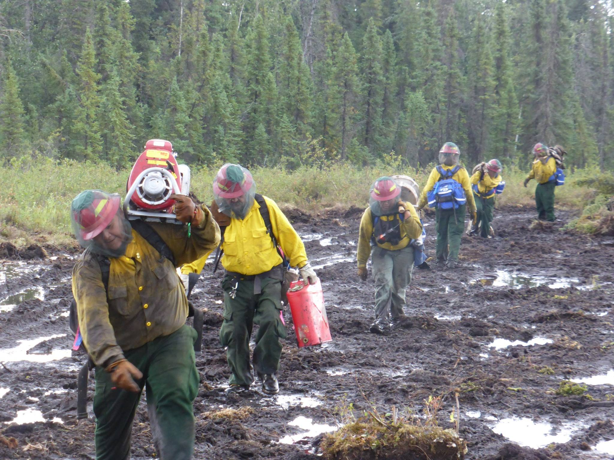 Firefighters head to the fire line on the Spicer Creek Fire northeast of Tanana in 2015. (AFS Photo.)