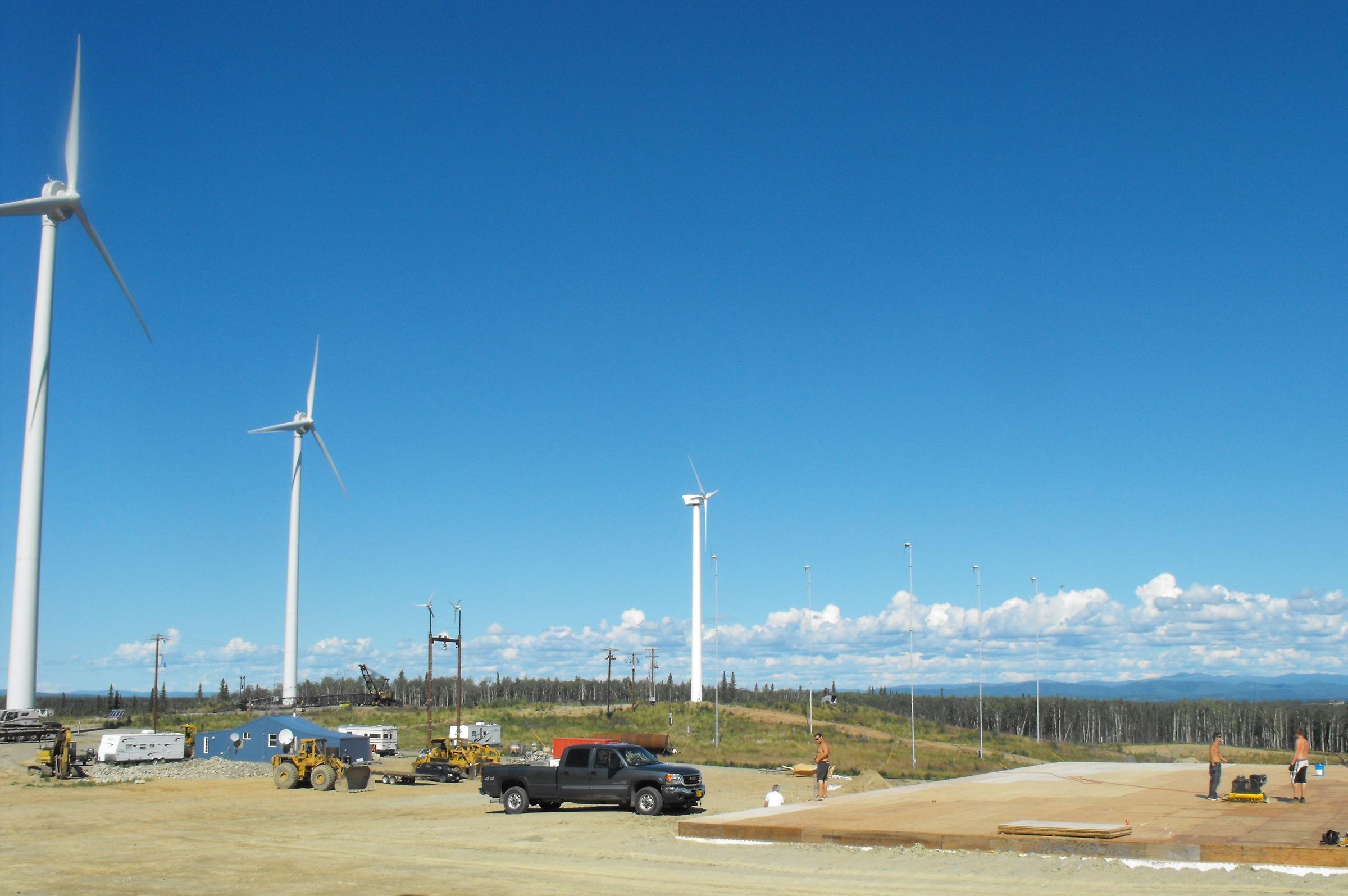 The Delta Wind Farm can produce up to 2 megawatt with its two 900-kilowatt and one 100-kilowatt wind generators. (Photo by Alaska  Environmental Power)