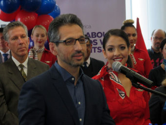 Alaska Airlines President and COO Ben Minicucci, who spoke to a large crowd of airline employees at SFO Wednesday, is leading the integration of Virgin America and Alaska Air. (Photo by Tom Banse/Northwest News Network)
