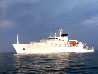 A Navy file photo shows T-AGS 60 Class Oceanographic Survey Ship, USNS Bowditch. The Navy says the ship's mission includes oceanographic sampling and data collection and the handling, monitoring and servicing of remotely operated vehicles (ROVs), among other things.