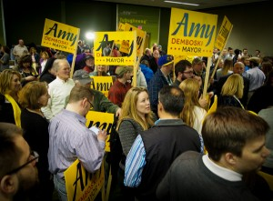 Amy Demboski surrounded by supporters after the 2015 mayoral election.