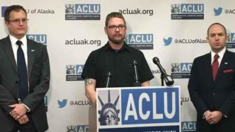 From left to right: ACLU staff attorney Eric Glatt, plaintiff Lance Hunt and ACLU of Alaska Executive Director Joshua Decker. (Photo courtesy of the ACLU of Alaska)