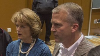 Alaska Sens. Lisa Murkowski and Dan Sullivan after the Department of the Interior's surprise announcement of the cancellation of off-shore drilling leases at the 2015 Alaska Federation of Natives Convention. (Photo by Mikko Wilson/KTOO)