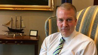 Republican U.S. Sen. Dan Sullivan in his Washington, D.C. office. (Photo by Liz Ruskin/Alaska Public Media)