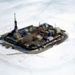 Alaska's Northstar Island in the Beaufort Sea, built of gravel six miles off the Alaska coastline. Alaska's economy has been shedding oil and gas industry jobs with the heaviest losses in the North Slope Borough. (Photo courtesy Bureau of Safety and Environmental Enforcement)
