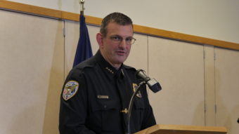 Juneau Police Chief Bryce Johnson was one of several officials who spoke at a press conference on the officer-involved shooting Saturday, Dec. 3, 2016. (Photo by Quinton Chandler/KTOO)