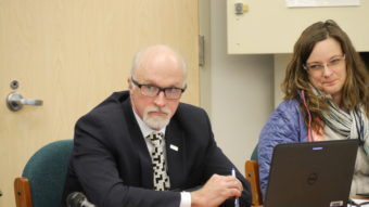 Juneau Schools Superintendent Mark Miller at a Juneau School Board meeting on in December 2016. (Photo by Quinton Chandler/KTOO)