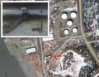 The spill location and photo of the leak on Dec. 18, 2016 in Nikiski, Alaska. (Graphic courtesy Tesoro)