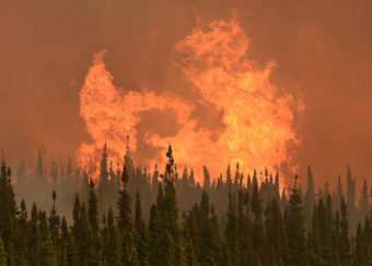 Flames from the Funny River Wildfire flare up on May 24, 2016 in Soldotna, Alaska. The wildfire started unusually early in the season and burned nearly 200,000 acres on the Kenai Peninsula. (Photo by Rashah McChesney/Peninsula Clarion) RELEASED FOR ALASKA'S ENERGY DESK USE