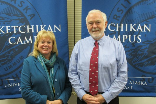 UAS Ketchikan Campus Director Priscuilla Schulte and UAS Chancellor Richard Caulfield.