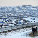 A view of the Oceti Sakowin camp, north of the Cannonball River, where people have gathered to protest the Dakota Access oil pipeline. David Goldman/AP