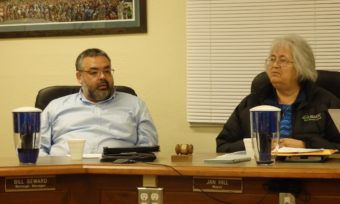 Borough Manager Bill Seward and Mayor Jan Hill. In December, Haines Borough Assembly fired Seward in a 4-2 vote during his six-month evaluation by the Assembly. (Photo Emily Files/KHNS)