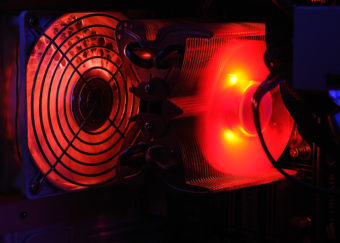 A computer's fans and heat sink.
