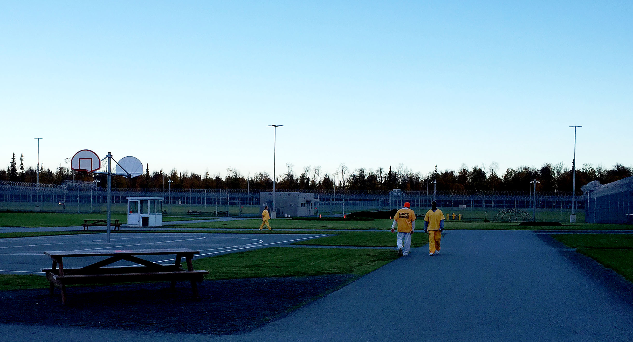 The outdoor yard at Goose Creek Correctional Center in Wasilla is available for the general population for recreation every day except during severe weather. (Photo by Anne Hillman/Alaska Public Media)
