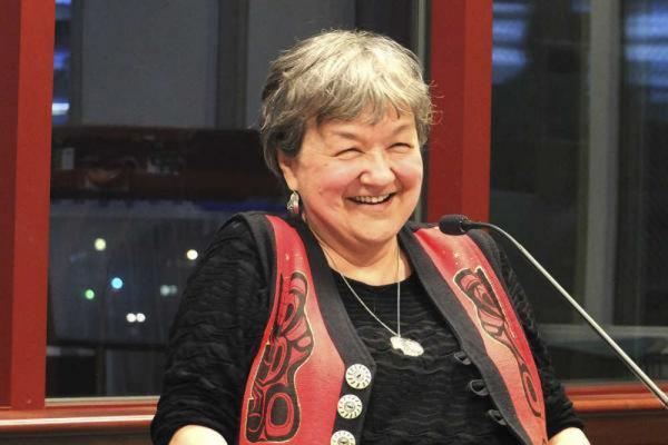 "Writer Ernestine Hayes, reads from ""The Tao of Raven"" during a panel discussion in Juneau on Sept. 24, 2015. (Photo by Mary Catherine Martin/Capital City Weekly)"