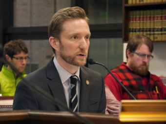 Rep. Jason Grenn, (I-Anchorage) testifies before the House Judiciary Committee on January 27, 2017. Rep. Grenn testified on his sponsored HCR 1 and HB 44 which, if passed, would redefine when a legislator with a conflict of interest can and should abstain from voting. (Photo by Skip Gray/360 North)