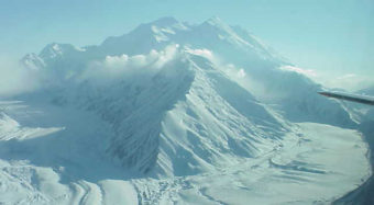 Two glaciers cascade off Denali.