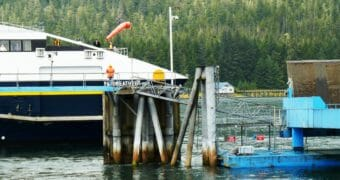 The fast ferry Fairweather docks in Petersburg Aug. 20, 2013, after a trip from Juneau. Budget cuts eliminated that route. (Photo by Ed Schoenfeld/CoastAlaska News)