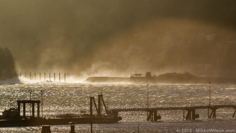 Taku Winds pummel the Douglas harbor breakwater in January 2015. (Photo by Mikko Wilson/KTOO)