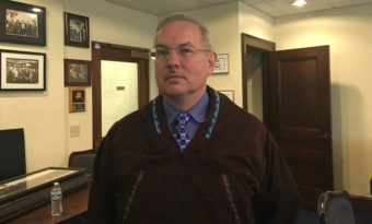 Rep. Bryce Edgmon was in his office shortly before being sworn in as the first Alaska House speaker of Alaska Native heritage.