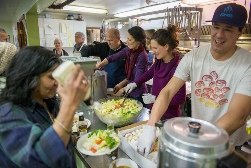First Lady Donna Walker, Lt. Gov. Byron Mallott, Gov. Bill Walker, and office staff and family members volunteer in the Glory Hole soup kitchen and shelter on Friday, Dec. 30, 2016.
