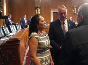 Rep. Ryan Zinke, the nominee for Interior Secretary, greets well-wishers during a break in his Senate hearing. (Photo by Liz Ruskin/Alaska Public Media)