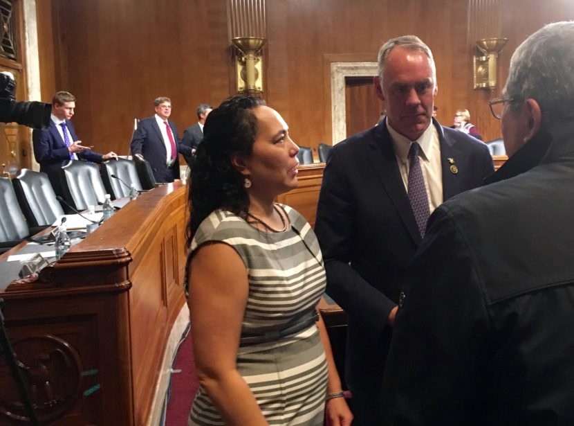 Rep. Ryan Zinke, the nominee for Interior Secretary, greets well-wishers during a break in his Senate hearing. (Photo by Liz Ruskin/Alaska Public Media)