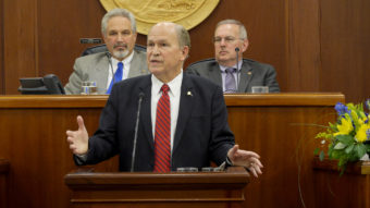 Gov. Bill Walker delivers his State of the State address to the Alaska Legislature, January 18, 2017. Behind him, left to right, are Senate President Pete Kelly (R-Fairbanks) and Bryce Edgmon (R- Dillingham), Speaker of the House.