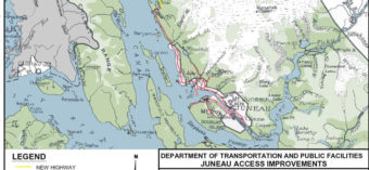 A map of the favored proposed route to Katzehin. (Map courtesy Alaska DOT)