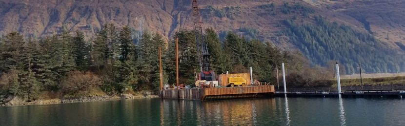Contractors work on upgrading slips in Gastineau Channel at Douglas Harbor on Oct. 27, 2016. (Photo courtesy Juneau Docks and Harbors)