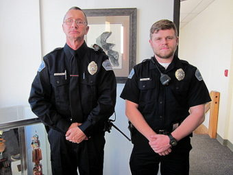 David Plagens, left, and Luis Waechter were sworn in as Petersburg police officers Jan. 3. (Photo by Angela Denning/KFSK)