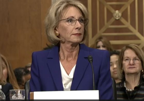 President Donald Trump's nominee for Education secretary, Betsy DeVos (Screenshot of U.S. Senate video)