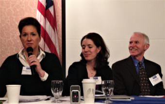 Homeless youth advocate Michelle Overstreet, left, talks about drug abuse during an Alaska Municipal League forum Feb. 22, 2017, in Juneau. Dr. Anne Zink, center, and Dr. Jay Butler, right, were also on the panel. (Photo by Ed Schoenfeld/CoastAlaska News)