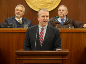 U.S. Sen. Dan Sullivan, R-Alaska, delivers his annual address Feb. 24, 2017, to the Alaska Legislature. (Photo by Skip Gray/360 North)