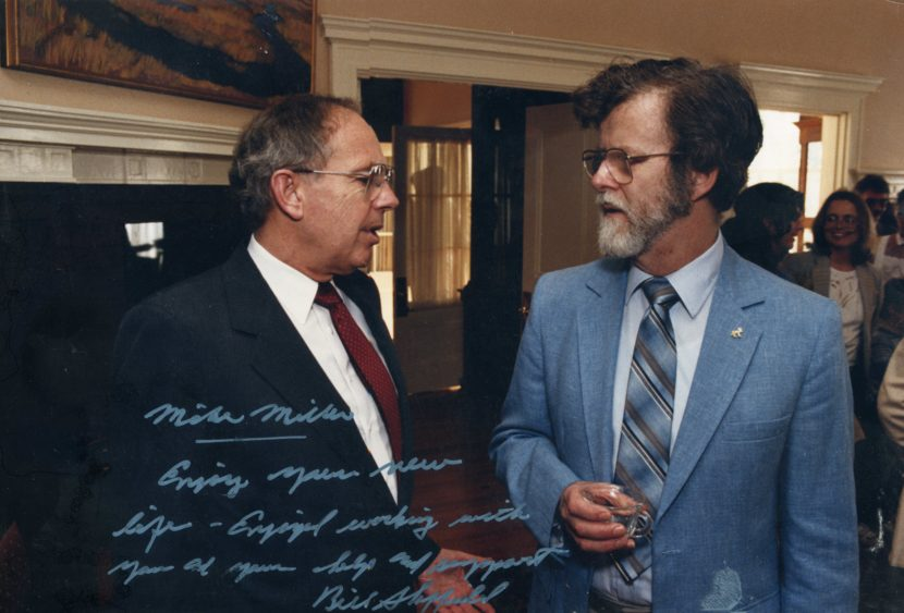 Gov. Bill Sheffield and Rep. Mike Miller in a 1986 photo.