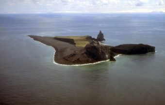 Bogoslof Volcano. (Photo by T. Keith, U.S. Geological Survey)