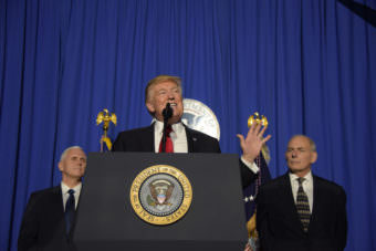 "President Donald Trump delivers remarks to employees of the Department of Homeland Security in Washington, D.C. on Jan. 25, 2017. President Trump praised the new Secretary of DHS, Gen. John Kelly saying: ""Secretary Kelly will deliver for the American people."""