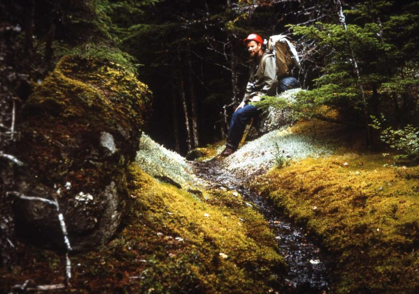 Mike Miller takes a rest while hiking the Chilkoot Trail in this 1967 photo.