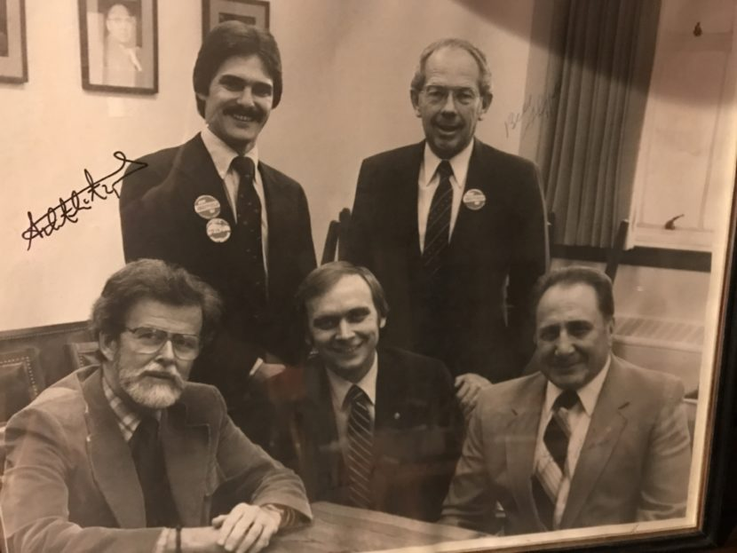 Rep. Mike Miller (counter-clockwise from bottom left) poses with Rep. Jim Duncan, Sen. Bill Ray, Gov. Bill Sheffield and an unidentified man in this photo circa 1980s.