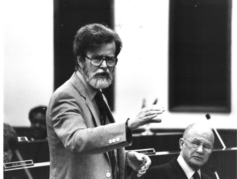 Rep. Mike Miller speaks on the floor of the Alaska House of Representatives in this undated photo.