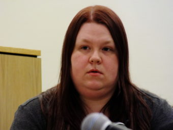 Tiffany Johnson née Albertson testifies Wednesday during the Christopher Strawn homicide trial.