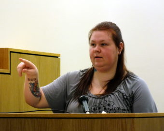 Tiffany Johnson testifies Feb. 13, 2017 during the Christopher Strawn homicide trial.