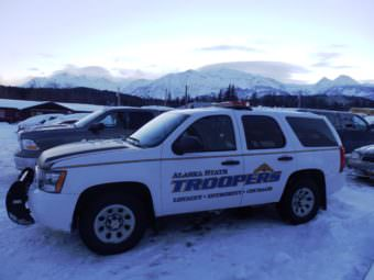 The Haines state trooper car parked outside of the courthouse. (Photo by Emily Files/KHNS)
