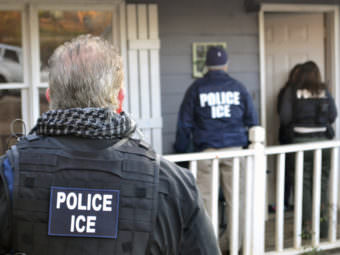 Immigration and Customs Enforcement agents in February in Los Angeles. The mayor of the city has asked ICE agents not to identify themselves as police during operations.