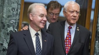 Rep. Tom Price, R-Ga., center, nominee for Health and Human Services secretary, is seen with Chairman Orrin Hatch, R-Utah, before his Senate Finance Committee confirmation hearing on Jan. 24. (Photo by Tom Williams/CQ-Roll Call Inc.)