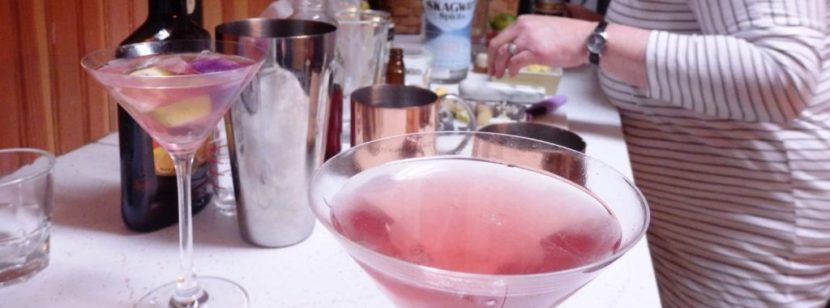 This fireweed-infused Cosmo is one of the drinks Janilyn Heger plans to include on Skagway Spirits' cocktail menu. (Photo by Emily Files/KHNS)
